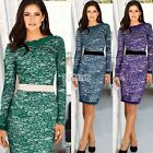 New Women's Long Sleeve Lace Bandage Bodycon Cocktail Fashion Party Dress 3Color