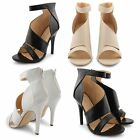 NEW LADIES CUT OUT FASHION SANDALS WOMENS OPEN TOE HIGH HEEL STILETTO SHOES UK