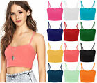 New Ladies Plain Strappy Sleeveless Crop Top Womens Vest Bralet Top Size 8-14