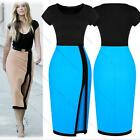 New Women Optical Illusion Colorblock Bodycon Split Cocktail Party Evening Dress