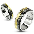 316L Stainless Steel Black & Gold Greek Key Spin Band Ring Size 5-13