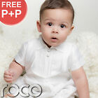 Baby Boys White Romper Suit Christening Baptism Wedding All In One Formal Suit
