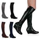 Womens Knee High Ladies Wedge Heel Winter Casual Round Toe Boots Shoes Size 3-8