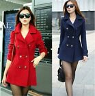 Winter Warm Coat Fashion Double Breasted Lapel Long Jacket Overcoat Outwear -S