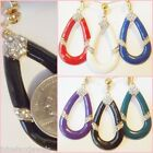 CLIP ON Tear Drop Enamel Rhinestone Classy Dangle Non-Pierced Earrings 1 Pair