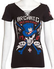 Archaic AFFLICTION Womens T-Shirt JOKER Skulls Tattoo Biker UFC Sinful S-XL $40
