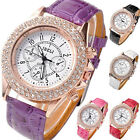 Women's Crystal Decorated Racing Analog Quartz Wrist Watch,PU Leather