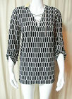 NWT MICHAEL KORS Black White CHAIN V NECK TOP Stretch SHIRT BLOUSE S M or L $99