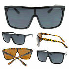 Mens Oversized Shield Flat Top Gangster Mobster Thin Plastic Sunglasses New