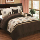 Grace Coffee, Beige and Taupe Luxury 7-Piece Micro Suede Comforter Set