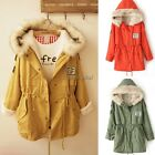 Outerwear Fleece Hooded Coat Jacket Fur Collar Womens Casual Korean Fashion 35DI