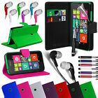 PU Leather Stand Wallet Case Cover, Film, Pen & Earphone For NOKIA Lumia 530