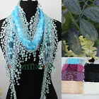 Stylish Funky Fun Lace Trim Tassel Leaf Mesh Thin Long Mantilla Triangle Scarf