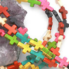5/10Pcs New Howlite Turquoise Beads Loose Cross Spacer Multi-Color 30x21mm Top