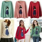 Women Casual Sweater Lady Cartoon Printed Pullover Knitted Tops Sweatshirt 35DI