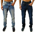 Mens New Designer Arrested Denim Jeans Skinny Tapered Leg Stylish Fashion Pants