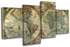 Old World Atlas Latin Maps Flags MULTI CANVAS WALL ART Picture Print VA