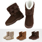 Womens Ladys Winter Soft Warm fuzzy heart Flat shoes Half Snow Boots