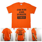 County Jail Prison Inmate Funny Halloween Costume Orange 100% Cotton T Shirt