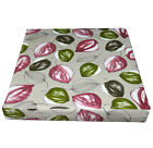 ai01t Light Green Wine Red on Pale Grey Leaf Cotton 3D Box Seat Cushion Cover