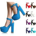 WOMENS LADIES ANKLE STRAP PLATFORM CHUNKY HIGH HEEL SANDALS SHOES SIZE 3-8