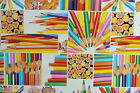 COLOURED PENCILS  VINYL OILCLOTH PVC WIPE CLEAN TABLE CLOTH CO click for sizes