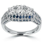 1.35CT Blue & White Diamond Halo 3 Stone Vintage Ring 14K White Gold G-H/I1-2