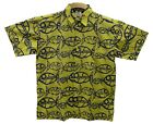 Hawaiian Style Cotton Batik Shirt S M L XL Vibrant Yellow Blue Fish Loud Shirt