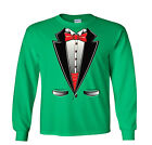 Red Bow Tie Tux Long Sleeve Shirt Tuxedo