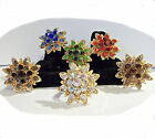 Flower Rhinestone Big Bling Adjustable Adult Fashion Trendy Gold Tone Ring