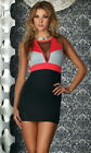 Sexy Coral Color Blocked V-Neck Mesh Detail Cocktail Party Clubwear Mini Dress