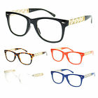 Womens Heart Metal Chain Arm Horn Rim Plastic Frame Nerdy Clear Lens Eye Glasses