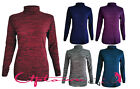 NEW WOMEN LADIES SPACE-DYE TURTLE NECK STRETCH LONG SLEEVE POLO TOP JUMPER 8-14