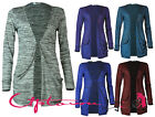 NEW WOMENS LADIES SPACE-DYE DROP POCKET LONG SLEEVE OPEN BOYFRIEND CARDIGAN 8-14