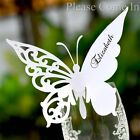 Personalised White Butterfly Place Cards for Wine Glass Wedding/Party