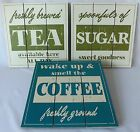Shabby Chic Vintage Cream Green Blue Wooden Block Plaque Tea Coffee Sugar Sign