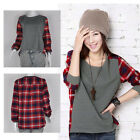 Fashion Women Ladies Plaid T shirt  Checked Long Sleeve Casual Loose Tops Blouse
