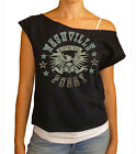 "Nashville Pussy ""In Lust We Trust"" women's cropped  raw edge off-shoulder top"