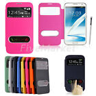 Smart Window View Leather Flip Cover Wallet Case For Samsung Galaxy Note 2 N7100