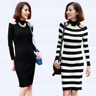 Womens Cut Out Shoulder Stretch Slim Sweater Turtle Neck Stripe Knit Dress
