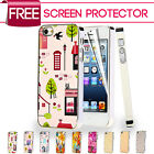 Leather Metallic Chrome Hard Back Case Cover For iPhone 5 5S + Screen Protector