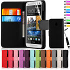 Flip Wallet Leather Case Cover For HTC One Mini M4 With Screen Protector