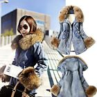 Hot Women Denim Trench Oversized Hoodie Outerwear Faux Fur Jean Coat Jacket B5UT