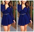 Fashion Women V Neck Backless Long Sleeve Chiffon Short Jumpsuit Mini  Dress