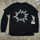 Mens Minimal Modern Graphic Pow Bang Humor Graphic Layered Long Sleeve T Shirt