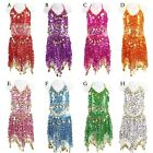 Girls Kids Belly Dance Costume Sparkly Circle Sequin Coins Top  Skirt Dress
