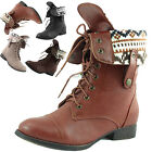 Women Military Combat Boots Lace Up High Flat Heel Comfy Slouchy Round Toe Shoe
