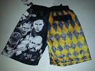 Boys World Wrestling Black White Gray Yellow Swim Trunks Size  4/5  8 NWOT