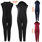 Women Ladies Quilted Warm Front Zip Sleeveless All In One Hooded Onesie Jumpsuit