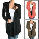 Women's Sofra Open-Front Soft Draped Long Sleeve Cardigan Sweater Longline Tunic